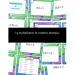 Cartes à tâches multiplication de nombres décimaux
