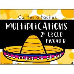 Cartes à tâches - Multiplications Niveau B