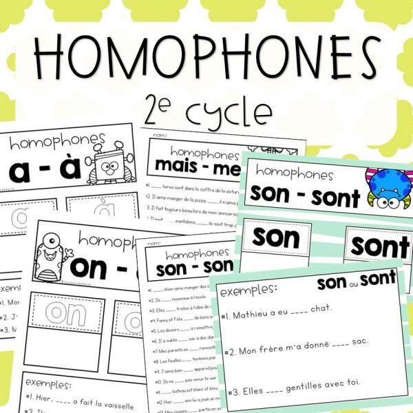 Homophones - 2e cycle - Cahier interactif