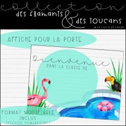 Collection Flamants et toucans - Affiche de porte