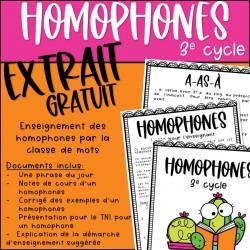 EXTRAIT GRATUIT - Homophones - 3e cycle