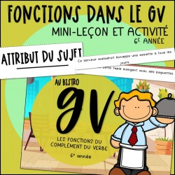 Au bistro 6V - Fonctions dans le GV