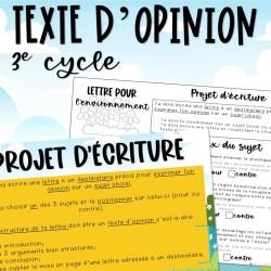 Projet d'écriture - L'environnement - 3e cycle