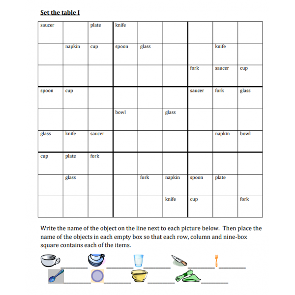 Set the table (Mettre la table) Sudoku