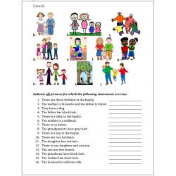 Family in English worksheet