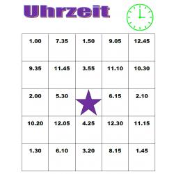 Uhrzeit (Heure en allemand) Bingo