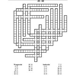 Zahlen 20 - 60 (Numéros en allemand) Mots croisés