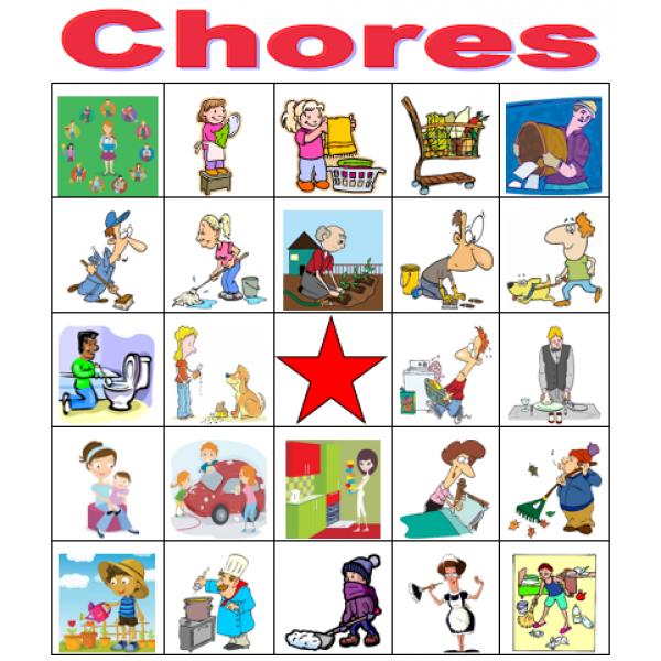 Chores in English Bingo