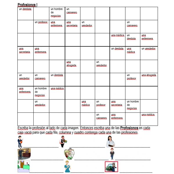 Profesiones en español Sudoku
