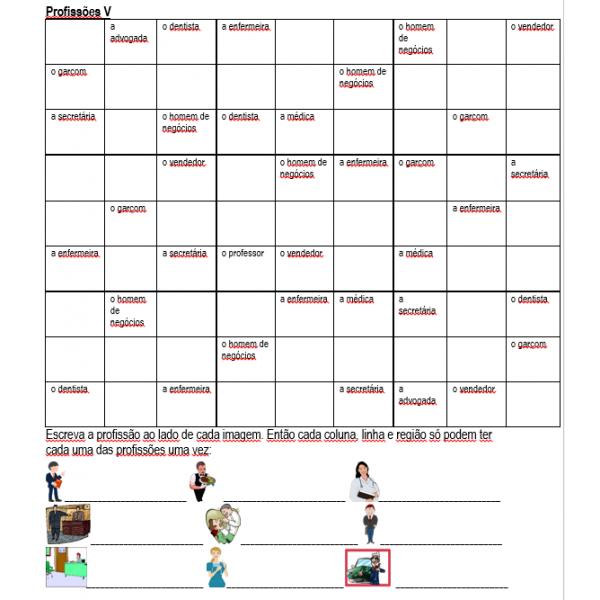 Profissões em português Sudoku