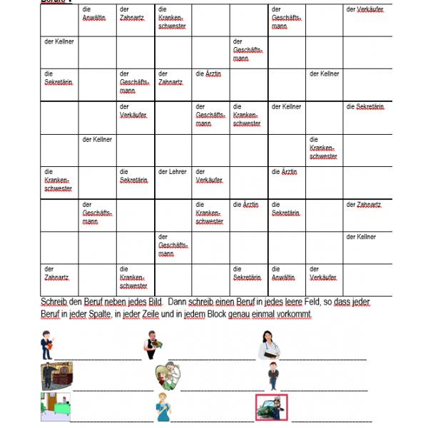 Berufe auf Deutsch Sudoku