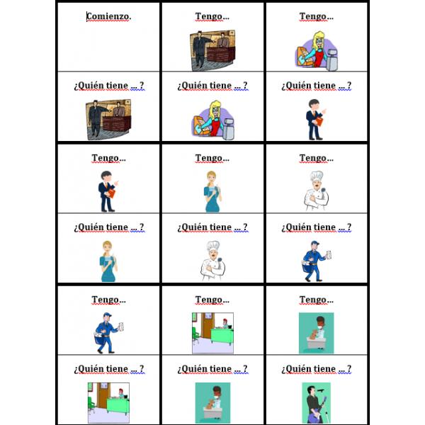 Profesiones en español Tengo Quién tiene