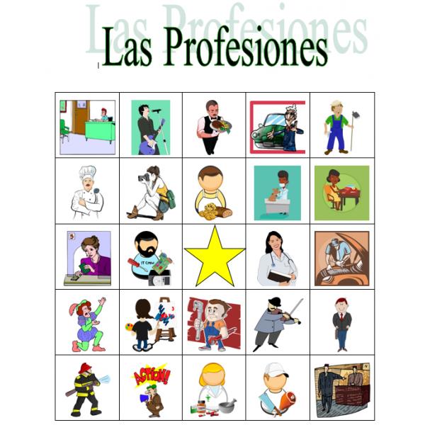 Profesiones en español Bingo