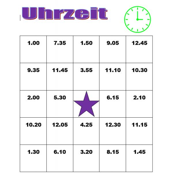 Uhrzeit auf Deutsch Bingo
