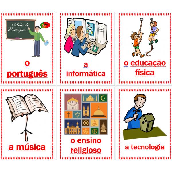 Disciplinas em português Cartazes