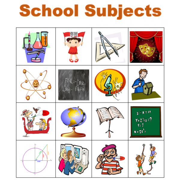 School subjects in English Bingo