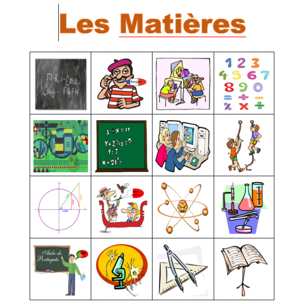 Matières en français Bingo
