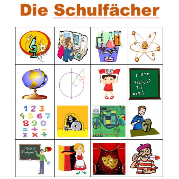 Schulfächer auf Deutsch Bingo
