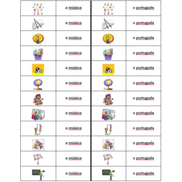 Disciplinas em português Jeu de Dominos