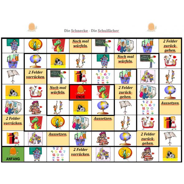 Schulfächer auf Deutsch Schneckenspiel