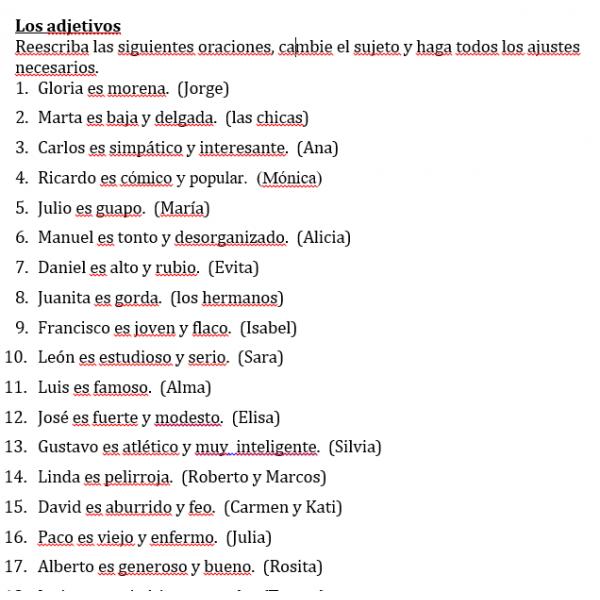 Adjetivos en español Hoja de trabajo 1