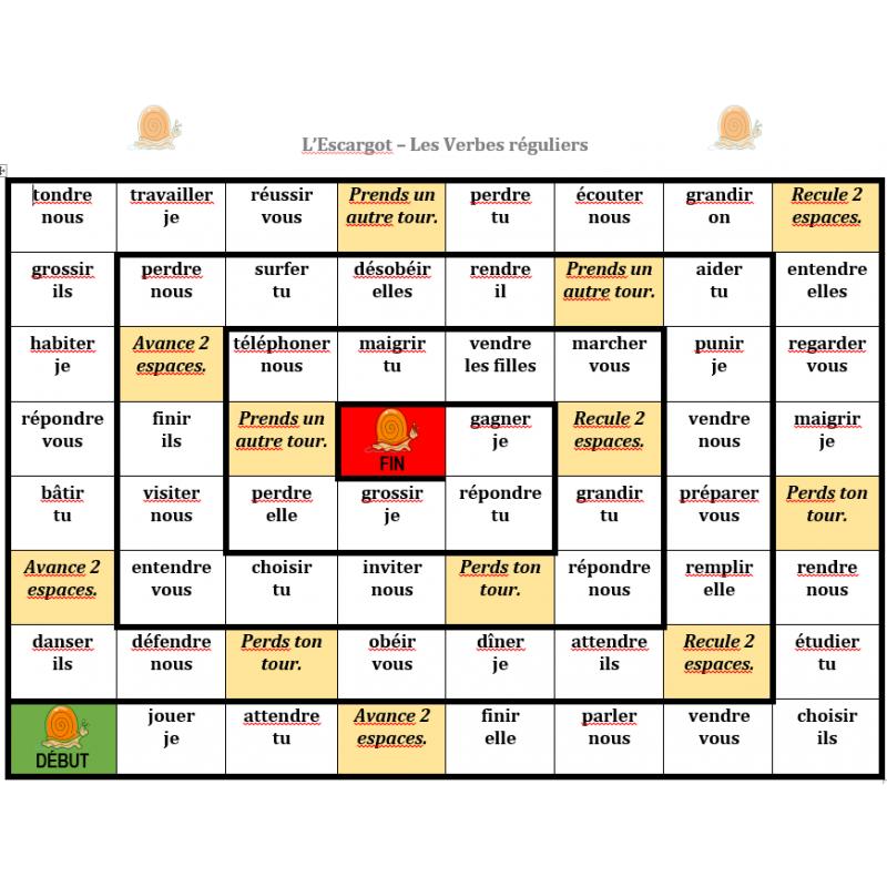 Verbes Reguliers En Francais Jeu De L Escargot