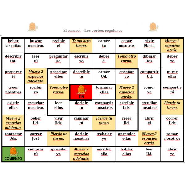 Verbos regulares en español Juego del Caracol