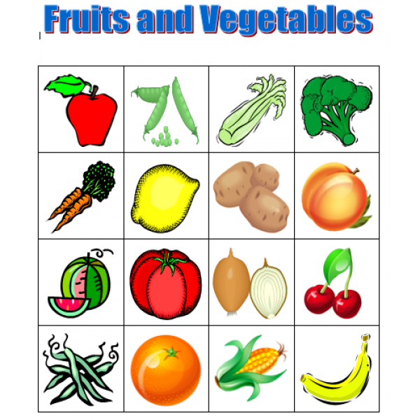 Fruits and Vegetables in English Bingo