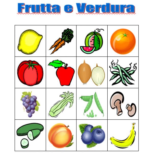 Frutta e Verdura in italiano Bingo