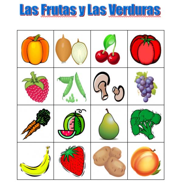 Frutas y Verduras en español Bingo