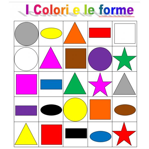 Colori e Forme in italiano Bingo