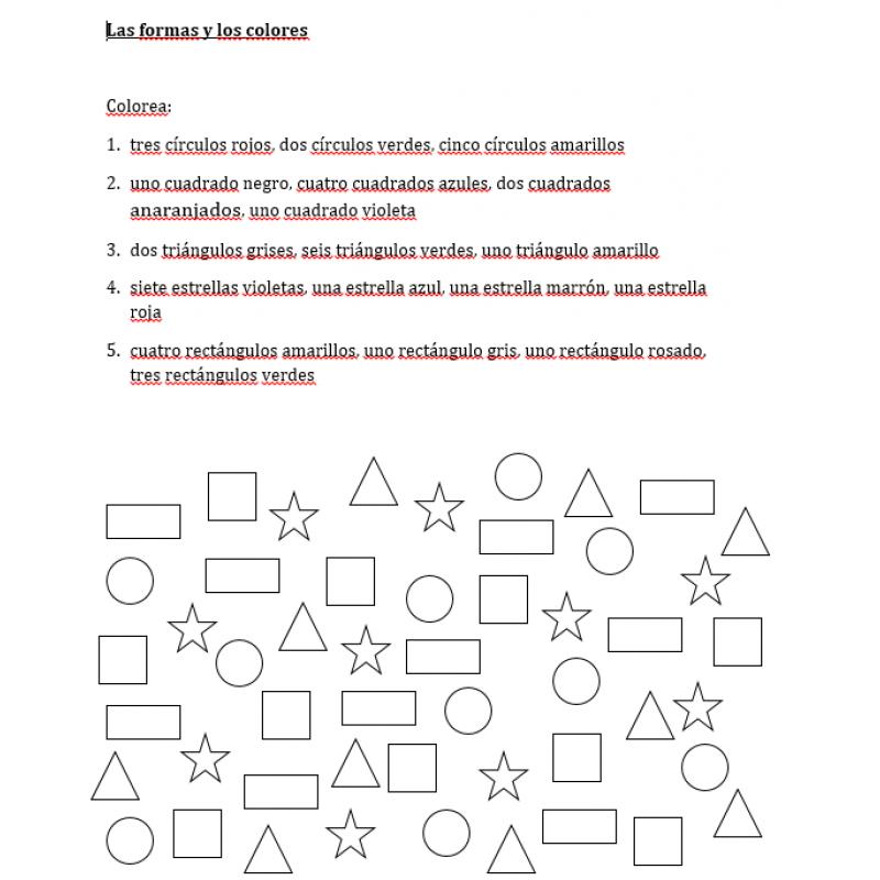 Colores y Formas en español Hoja de trabajo