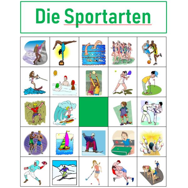 Sportarten auf Deutsch Bingo