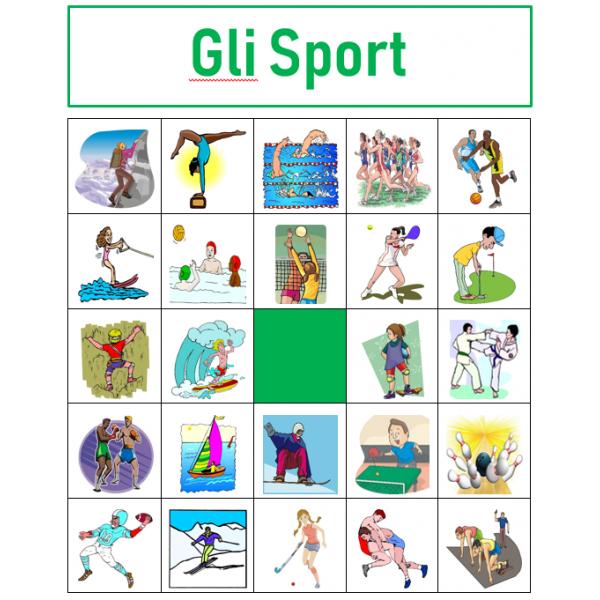 Sport in italiano Bingo