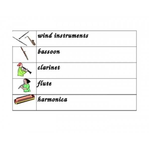 Musical Instruments in English Word Wall
