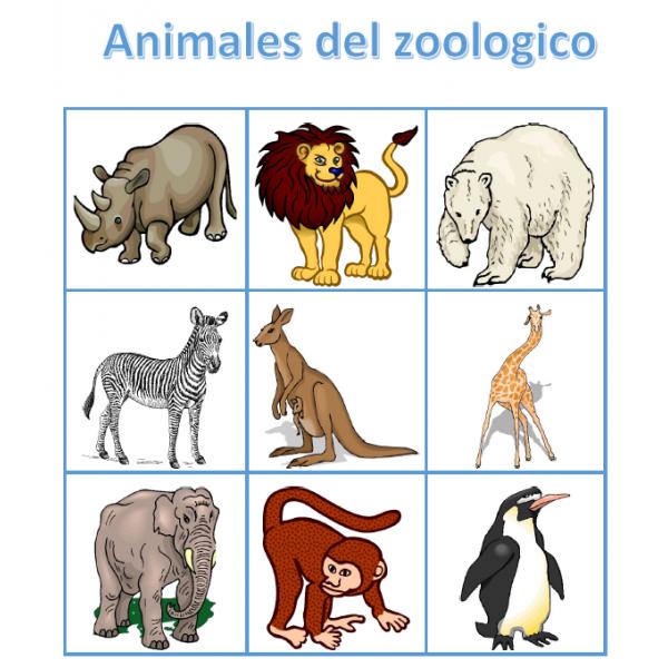 Animales del zoologico en español Bingo