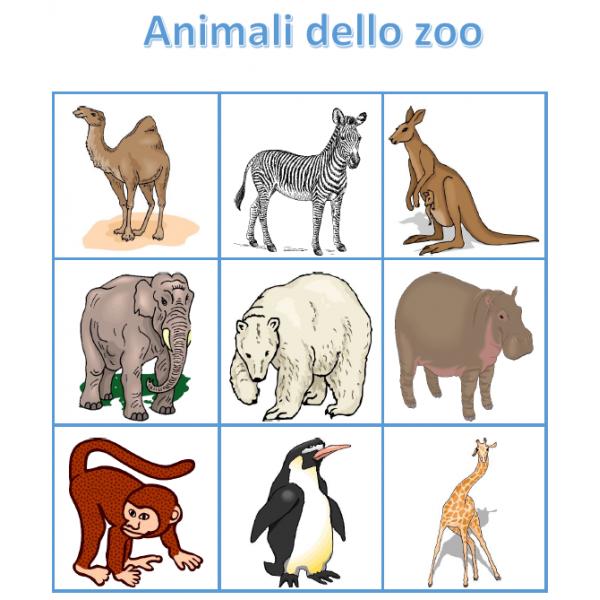 Animali dello zoo in italiano Bingo