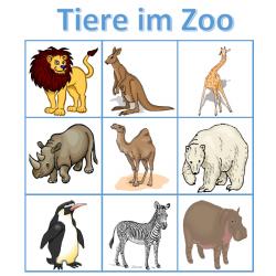 Tiere im Zoo auf Deutsch Bingo