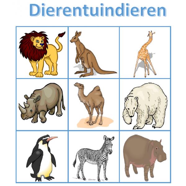 Dierentuindieren in Nederlands Bingo