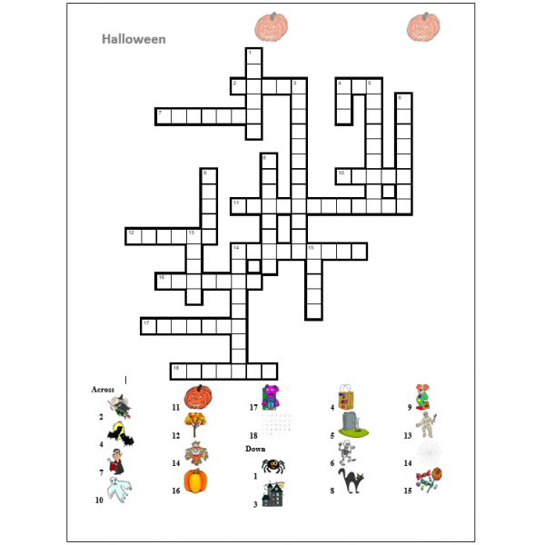 Halloween in English Crossword and Wordsearch