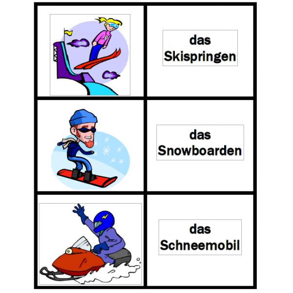 Winter auf Deutsch Kartenspiele
