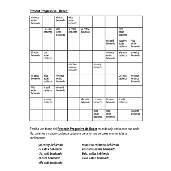 Beber al presente progresivo Sudoku