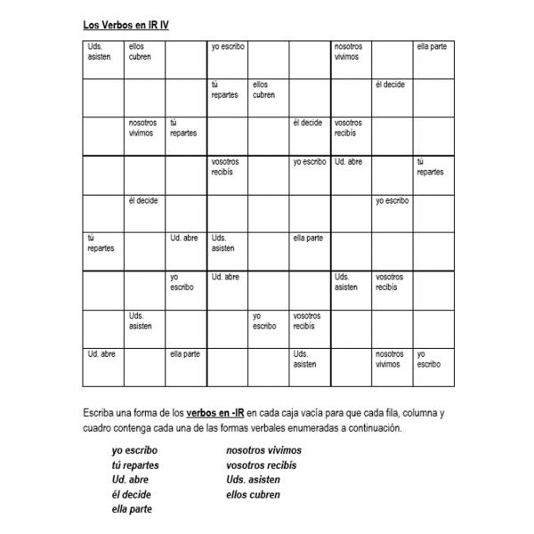 Verbos con -IR Sudoku