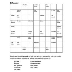 Presente en español Sudoku