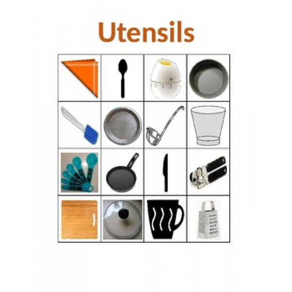 Utensils in English Bingo