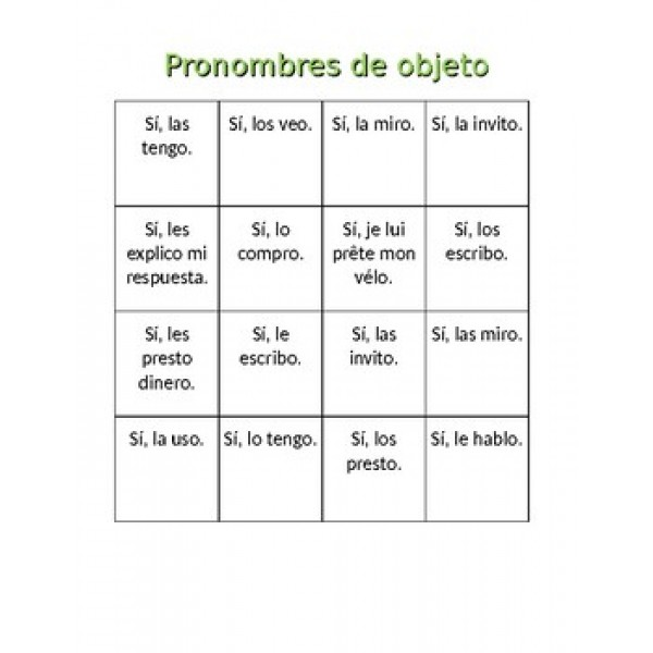 Pronombres de objeto en español Bingo