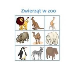 Zwierząt w zoo po Polsku Bingo