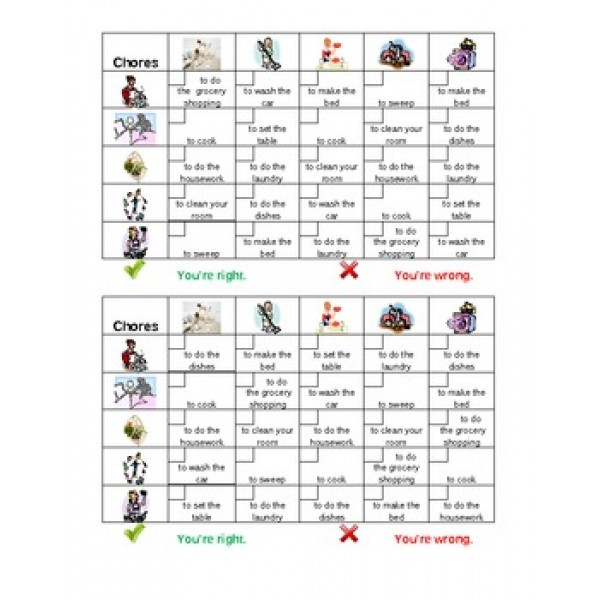 Chores in English Grid Vocabulary Activity