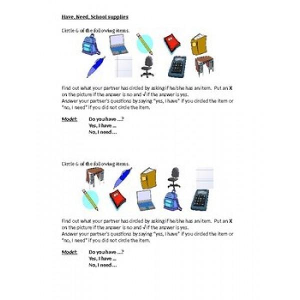 School Objects English Partner Speaking Activity 2
