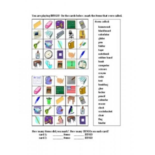 School Objects in English Bingo Worksheet